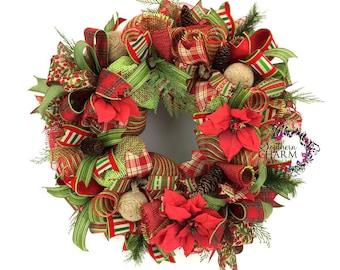 Mesh Burlap Christmas Wreath, Deco Mesh Christmas Wreath, Burlap Christmas Decorations, Rustic Christmas Wreath for Door, Xmas Wreath