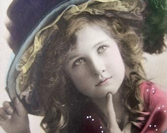 Antique pretty girl photo postcard, Edwardian photo postcard, girl with hat, antique tinted photo postcard, antique fashion photo postcard