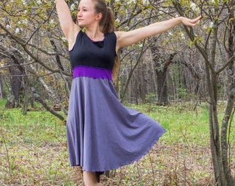 Color Block Simplicity Tank Dress - Organic Clothing - Made to Order - Choose Your Color - Boho Chic Eco Fashion