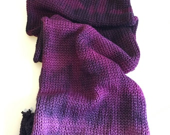 Walker Flat 460 yards total double strand knitted flat OOAK purple black gradient sock knit