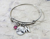 Pinky Promise BFF Personalized Bangle Bracelet - Add-on Initial Name, Customized Swarovski crystal birthstone