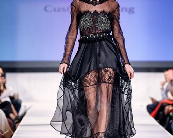 Sheer Black Evening Gown High Fashion Red Carpet Dress