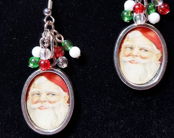 Santa earrings, Santa charms made into drop or dangle earrings, charms added for a little extra, vintage looking Santa face, fish hook ear