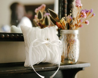 Beach wedding ring pillow, pearl ring bearer pillow, white chiffon pillow, wedding decor, ring holder, ring cushion - Wave