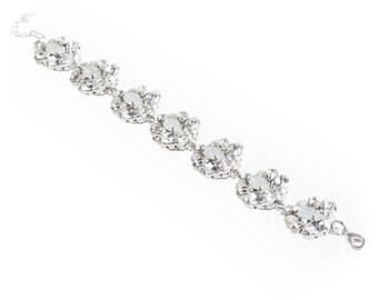 Bridal Bracelet , Swarovski Crystal Bracelet ,Crystal Pearl  Bracelet , White Opal Wedding Bracelet , Bridal Cuff Bracelet , Bridal Jewelry