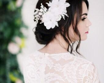 Double chiffon flower headpiece, bridal headpiece, flower hair comb, wedding - style 2013