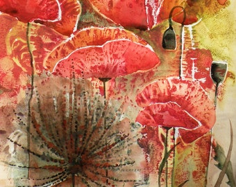 Watercolor Original Painting Art - Red Bloom