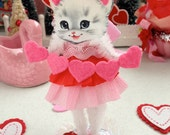Vintage Inspired Christmas  SuGaR SwEeT Pink Valentine Kitschy Kitty Keepsake BE MINE VALENTINE