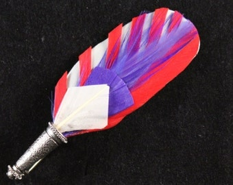 "Men's Lapel Pin, Vintage Feather Boutonniere, Hat Pin Brooch, ""Quincy"" in red white & blue- made from vintage millinery trims"