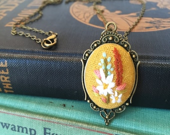Wildflower Pendant in Mustard | hand embroidered necklace, floral, bouquet, feminine, embroidered jewelry