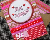 Valentines Day Card with Matching Embellished Envelope - Be Mine Banner