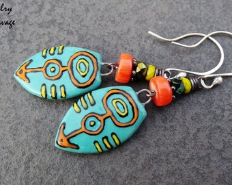 Tribal Colorful Ceramic Painted Patterned Teal Dangle Shield Earrings, Coral Teal Yellow Czech Class Rustic Tribal Earrings
