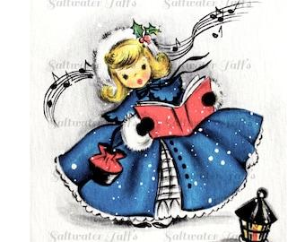 Christmas Angel Singing Image Digital Download vintage holiday xmas christmas card 1950s pretty girl caroling lantern blue dress
