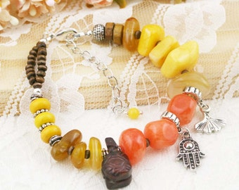Longevity boho bracelet (BB) - carnelian, quartzite and soapstone