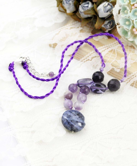 Humbleness brow chakra necklace - amethyst, and sodalite.