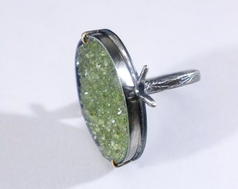 "Vesuvianite crystal cluster ""root system"" ring…sterling silver - size 7.75"