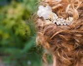 "Grey floral two piece hair comb with leaf and crystal detail ""Carlen"""