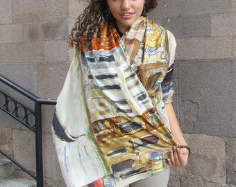 Unique hand painted silk scarf- Venice Morrow/ Artistic Bridal shawl wrap/ Luxury scarves/ Venice scarf/ Burnt sienna ocher ivory scarf KA17