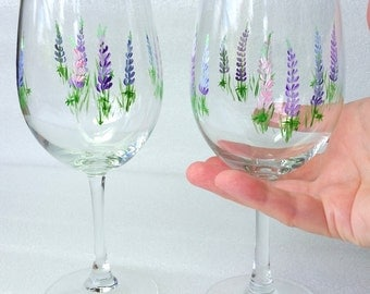 Maine Lupines, Wine glasses, Maine Lupines Stemware, Maine Made,  set of two