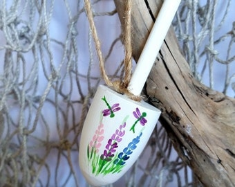 """Lobster Buoy with Lupines and Dragonflies, shabby chic, weather white, hand painted Christmas Ornament, 3"""" tall"""