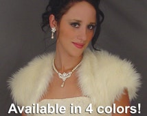 Angora faux fur bolero shurg jacket wedding wrap bridal coat stole  cover up FBA203 AVAILABLE in white, ivory, black, silver gray
