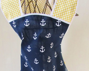 Child Apron youth nautical navy blue white yellow 1950s