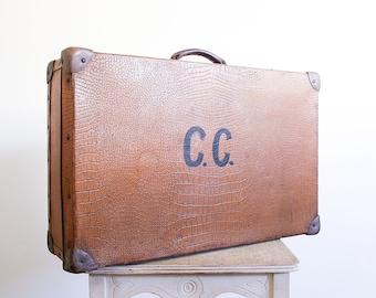 Vintage Faux Crocodile Suitcase / Monogrammed / Luggage