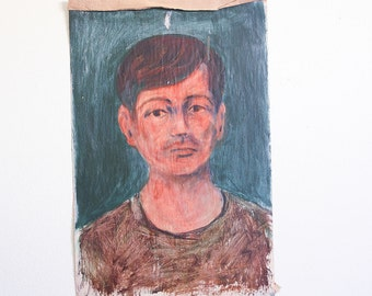 Vintage Portrait Painting / Outsider Art / 12 x 18 / Acrylic on Found Paper