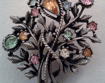 Brooch - Vintage Jewelcraft Multi-colored Rhinestone Floral Bouquet Brooch - Mid Century