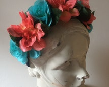 Coral and Aqua Flower Crown