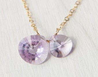 Pink Amethyst Neckace, Light Purple Stone Necklace, Heart Drop Pendant Necklace, Concave Cut, Gold Chain, February Birthstone Jewelry