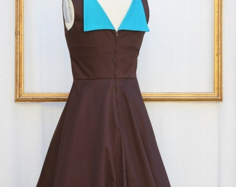 custom made dress sleeveless with open v back design and flare skirt in many colors - CYNTHIA style