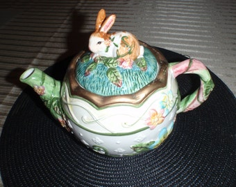 Vintage Easter Bunny Teapot In Green White And Blue with A Bunny On Top