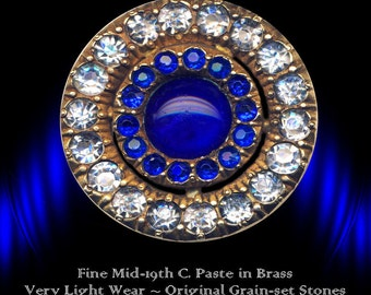 Button--Finely Made Late 19th C. Cobalt Blue & Crystal Glass Jewel in Brass
