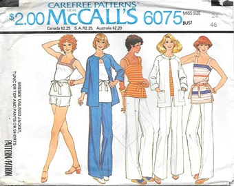 McCalls 6075 UNCUT 1970s Unlined Jacket Tunic Top Pants and Shorts Vintage Sewing Pattern Size 24 Bust 46
