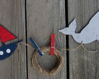 NAUTICAL WHALE & SAILBOAT Kids Art Display Clips - Original Hand Painted Wood