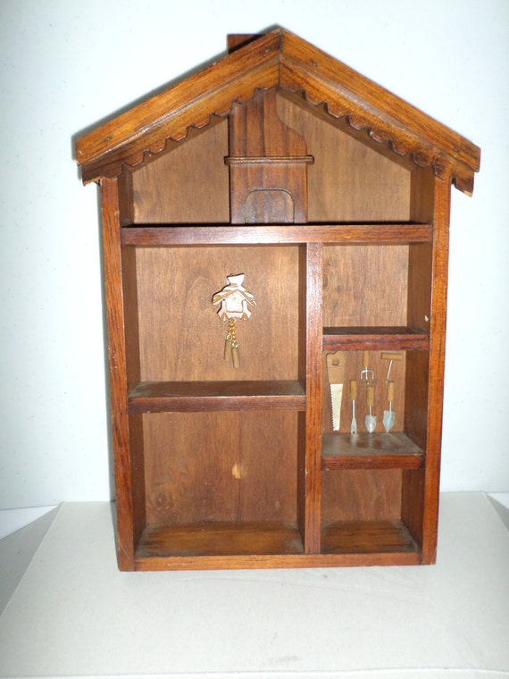 vintage wood miniature display case wall decor wall by dlcs. Black Bedroom Furniture Sets. Home Design Ideas