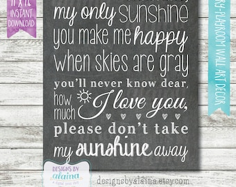You Are My Sunshine // Chalkboard Subway Word Art Decor Typography // Printable Digital File,11x14, Instant Download