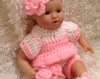 Handmade Clothes for 12 And 15 inch soft bodied  Dolls.Pink/White set