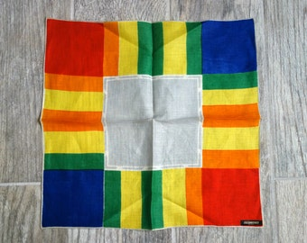 Vintage Rainbow Handkerchief, Never Used Bright and Colorful 1960s Red, Orange, Yellow, Green, Blue, and Grey Linen Hankie with Tag Attached