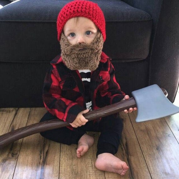 Lumberjack First Birthday, Lumberjack Party Supplies, Lumberjack Baby Shower, Baby Beard, Baby Beard Beanie, Baby Beard Hat, Red Beard Hat