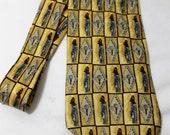 Vintage STUDIO by Fumagalli's 4 Inch Wide Silk Golf Necktie, Yellow & Blue