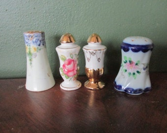 Salt and Pepper Shakers 4 Mismatched from the 40s