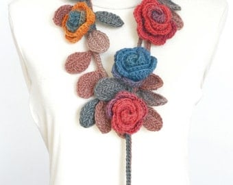 ROSA -  Red and Turqoise - Crochet Multicolor Roses Scarf/Lariat