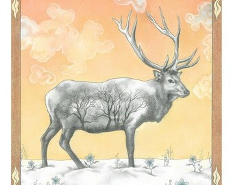 "Animal Art Print, limited edition - ""Winter Elk"""