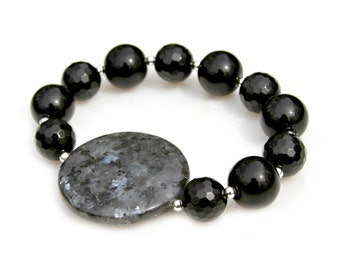 Black Gemstone Bracelet Faceted Smooth Agate Beads Silver Stacking Labradorite Larvikite High Fashion Celebrity Classic Style by Mei Faith