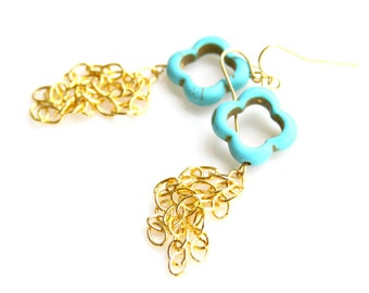 Turquoise Earring Clover Earring Gold Flower Dangles Romantic Modern French Paris Country Chic Shabby Chic Style by Mei Faith.