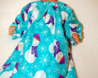 "Snowman  print flannel nightgown and booties for 12"" Corolle Mon Premier Baby dolls tkct928"