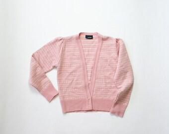 Vintage Puff Sleeve Knit Cardigan Sweater / Baby Pink Pastel V Neck Shirt Top Jumper Dolly Kawaii Babydoll Top Womens Small Medium