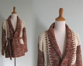 Vintage 1970s Sweater - Rust and Cream Southwestern Wrap Cardigan with Oversized Stitching - 70s Southwestern Cardigan S M